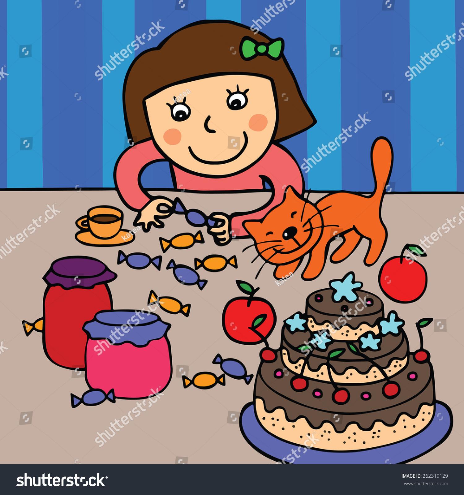 Vector Illustration Girl Sweets Ginger Cat Stock Vector Royalty