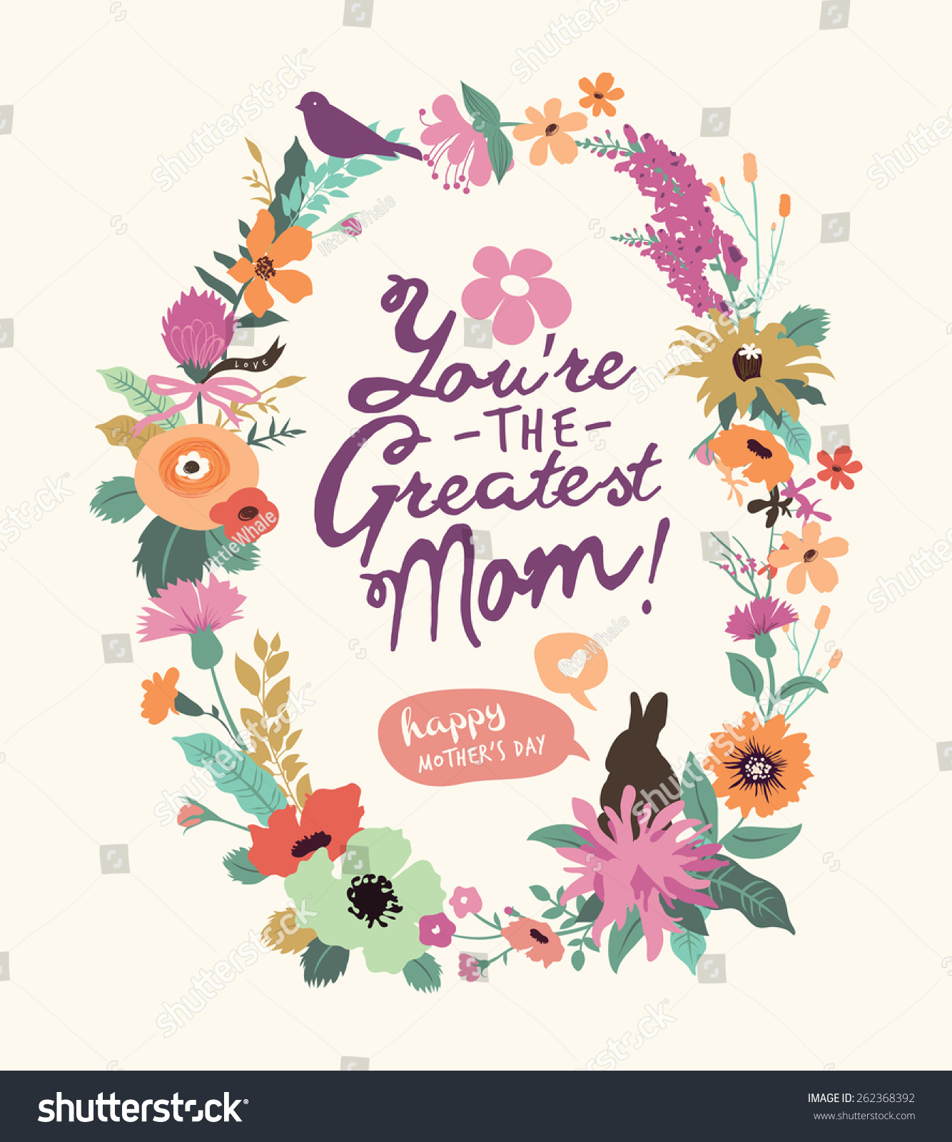 Vintage Style Mothers Day Greeting Card With Beautiful Floral