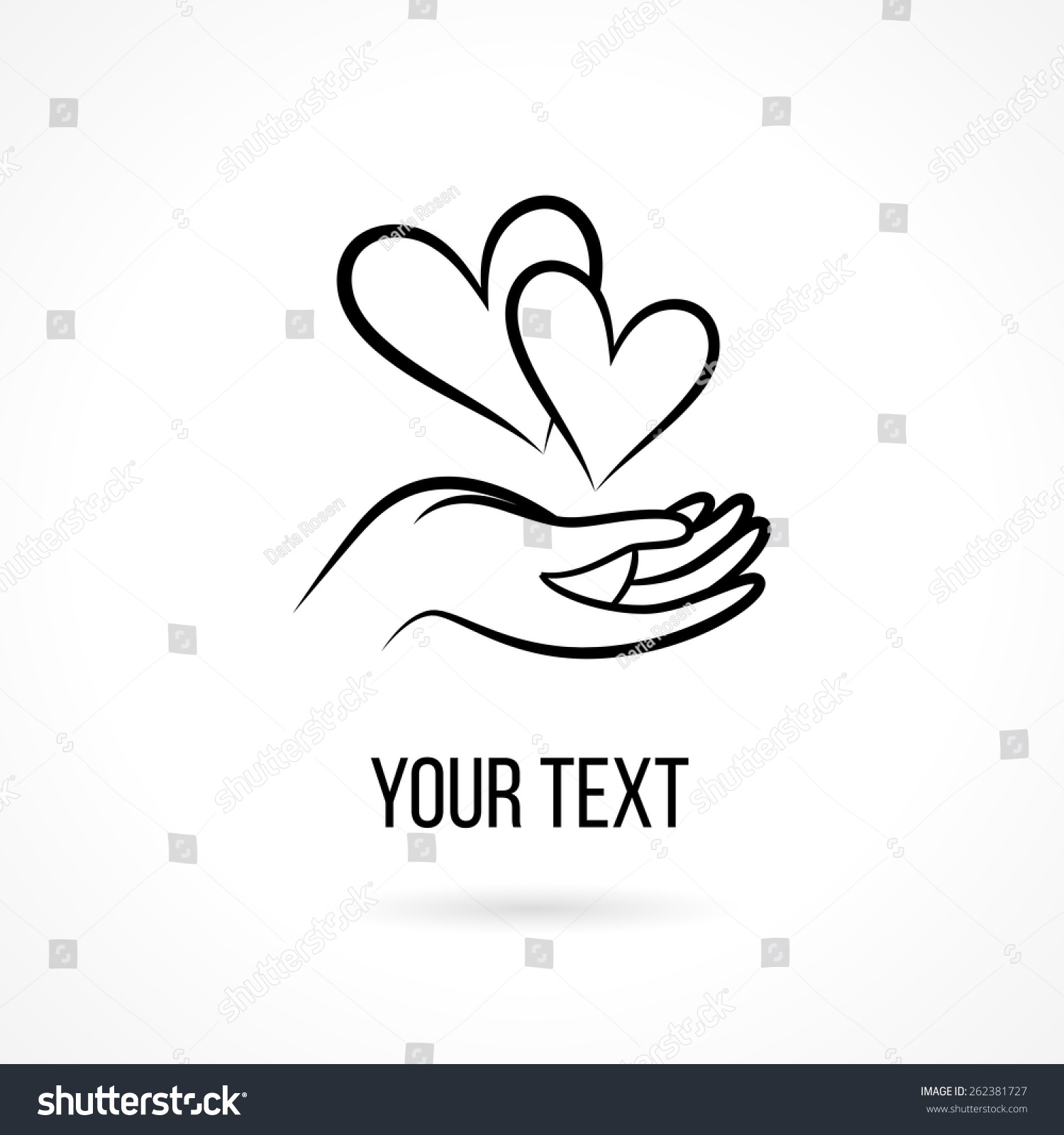 Vector Logo With Hand, Two Hearts, Open Palm And Text ...
