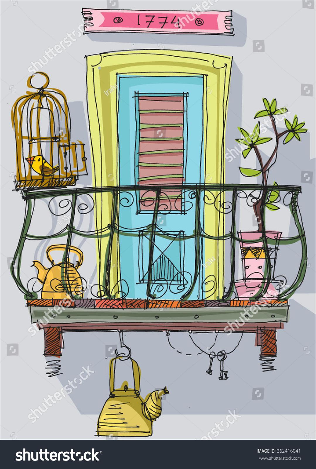 Cute Balcony Cartoon Stock Vector 262416041 Shutterstock