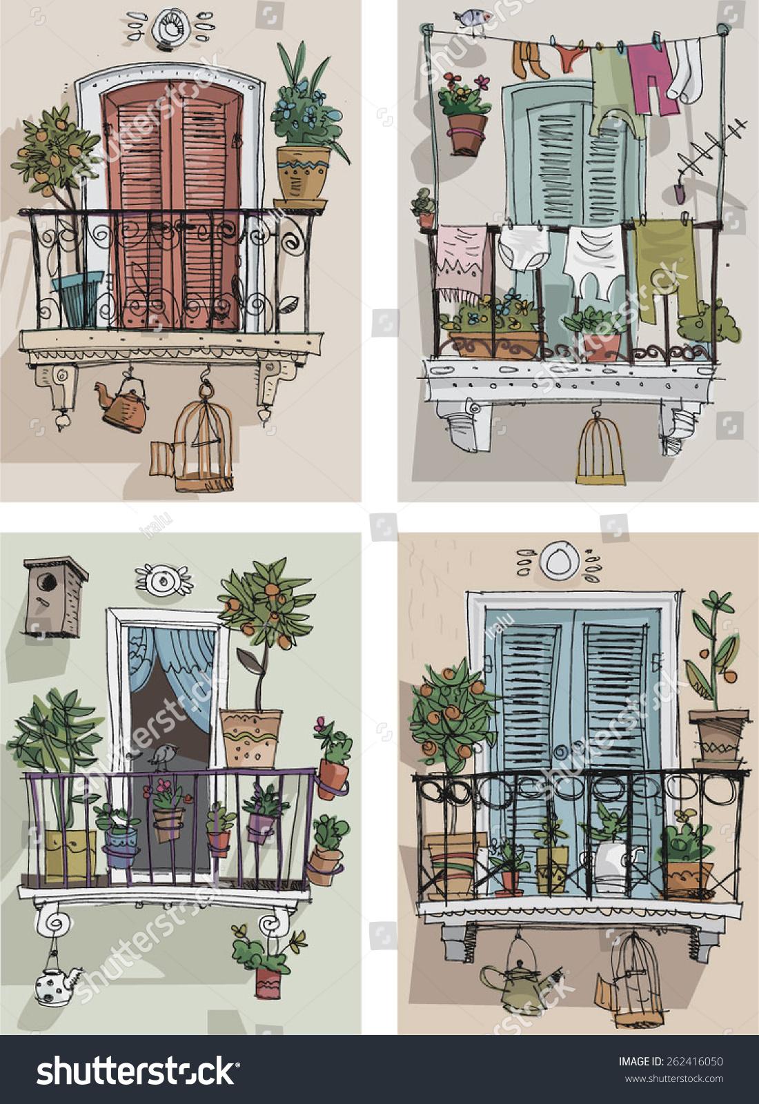 Set cute balcony cartoon stock vector 262416050 shutterstock for Balcony cartoon
