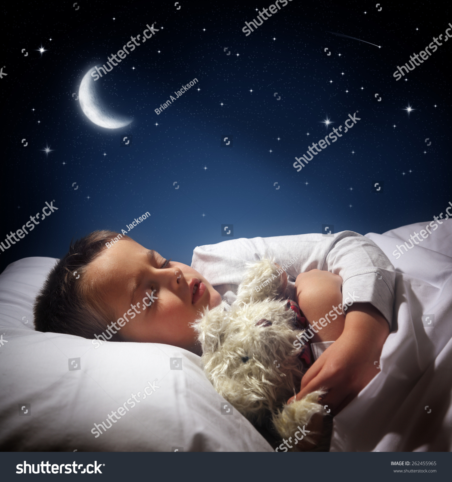 Kids at night with moon royalty free stock photography image - Child Sleeping And Dreaming In His Bed Under The Moon Stars And Blue Night Sky
