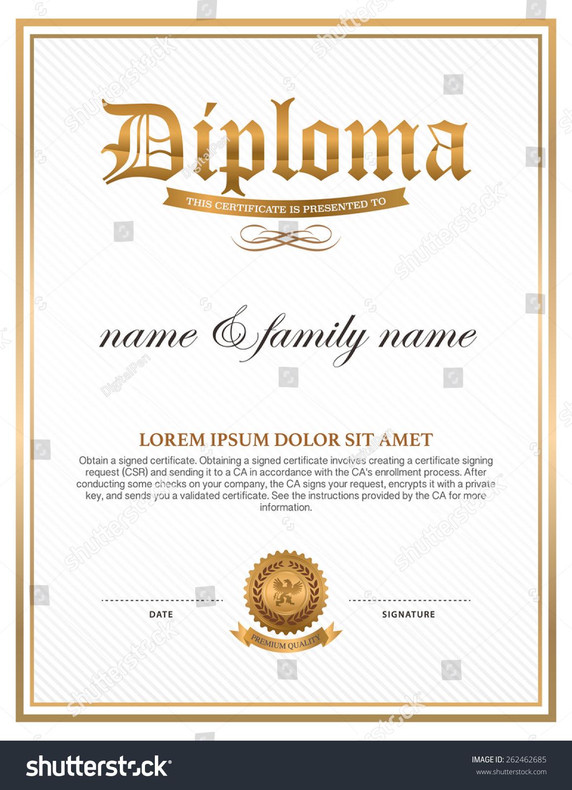 Diploma certificate design template stock vector 262462685 diploma certificate design template alramifo Images
