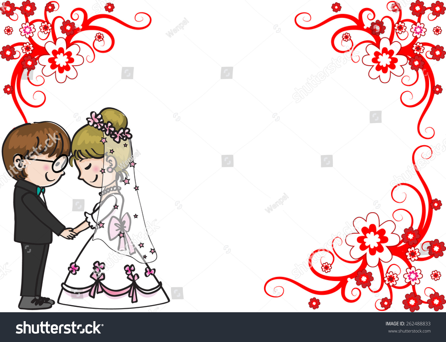 Wedding Greeting Card Border Stock Vector 262488833 Shutterstock