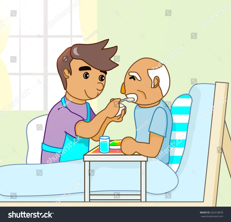 illustration of friendly nurse feeding a senior man in nursing home ministry clipart nursing home visit clipart