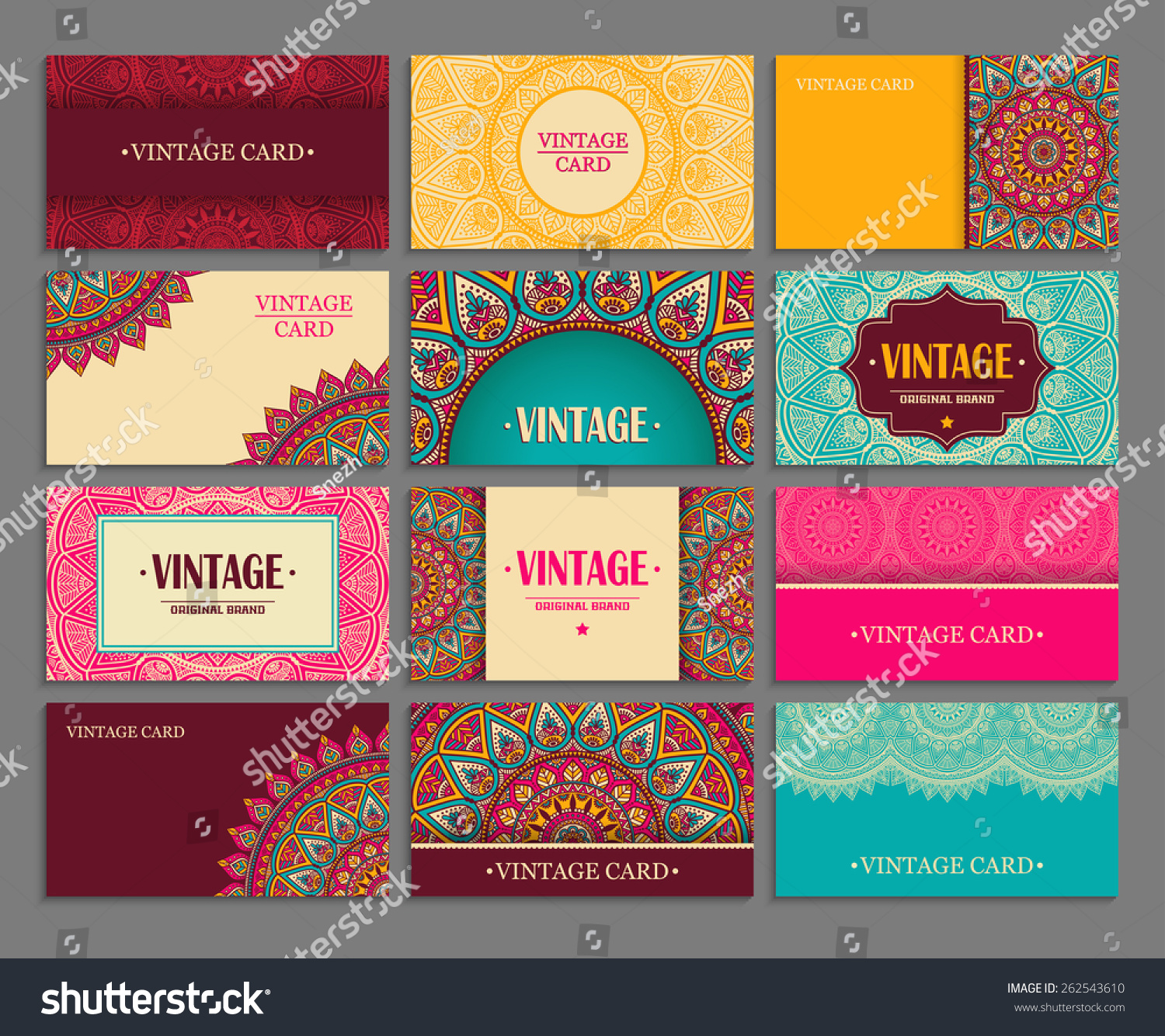 Business Card Collection Vintage Decorative Elements Stock Vector ...