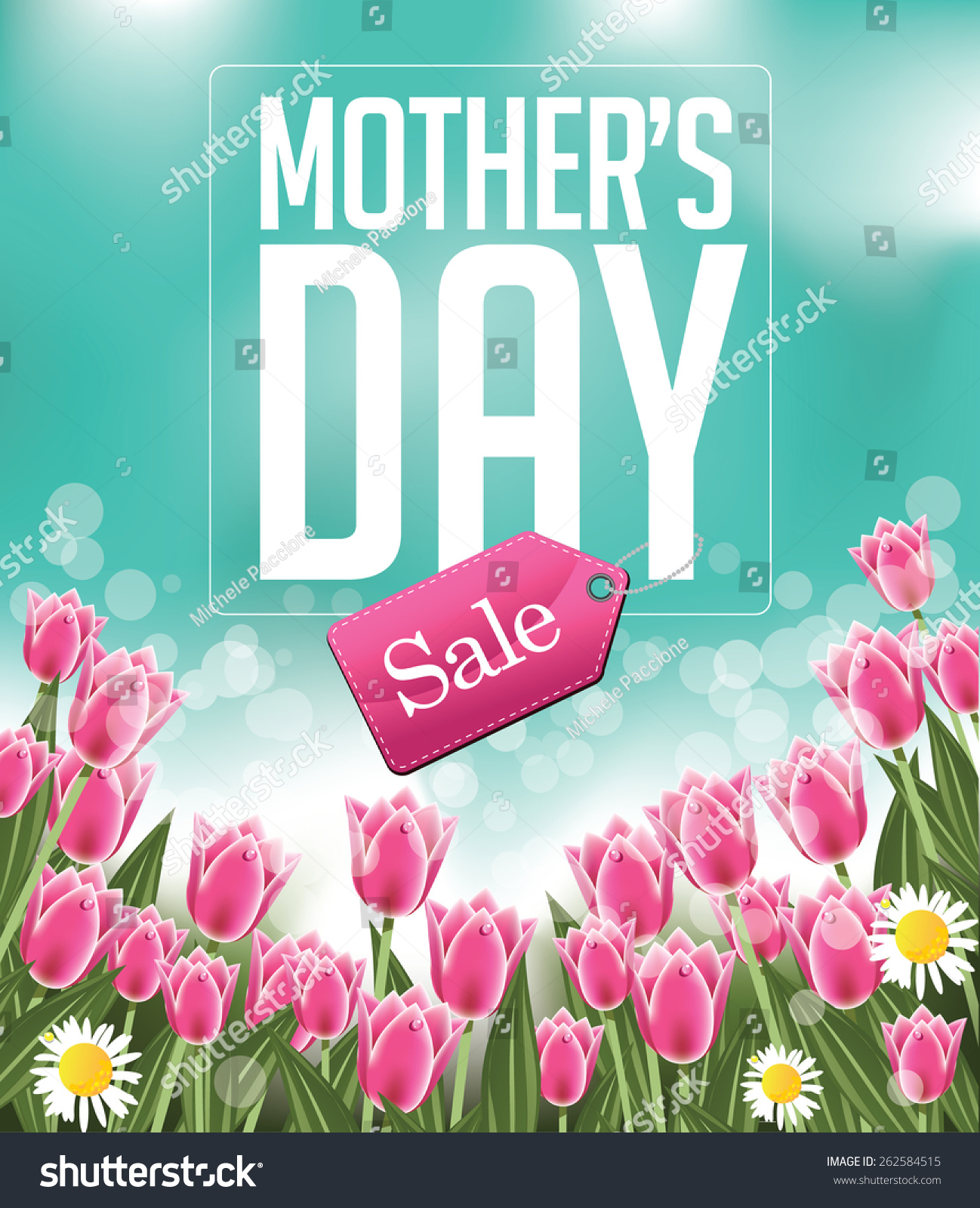 Mom Day Sale Ͽ� Seasonal A5 Flyer Template: Mothers Day Sale Background Eps 10 Stock Vector 262584515