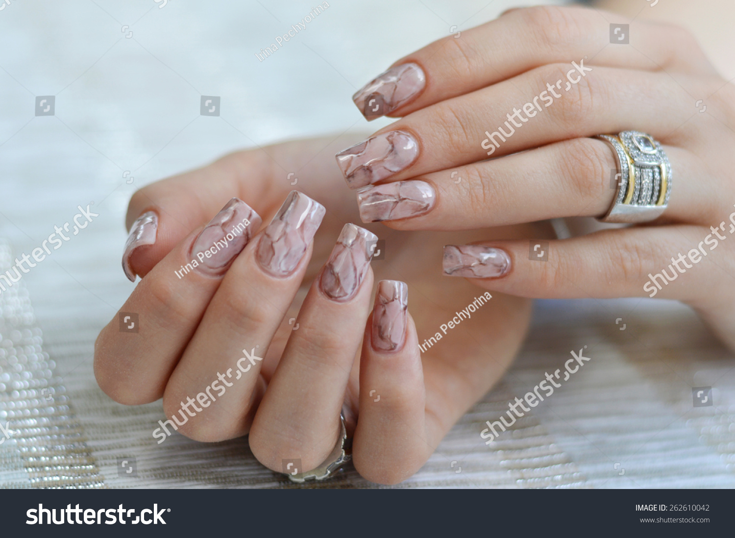 Unusual marble textured nail art design stock photo 262610042 unusual marble textured nail art design in earthy tones prinsesfo Images