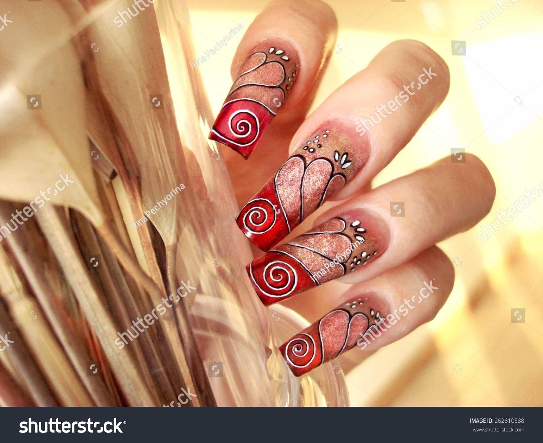 Beautiful Abstract Seethrough Tinted Nail Art Stock Photo (Royalty ...