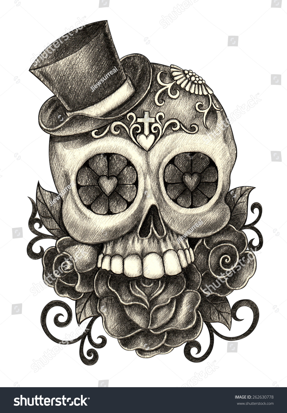 Day Of The Dead Hand Tattoo: Art Skull Day Of The Dead. Hand Pencil Drawing On Paper
