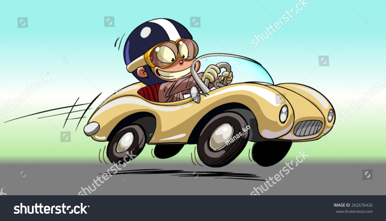 young kid driving race car stock vector 262676426 shutterstock