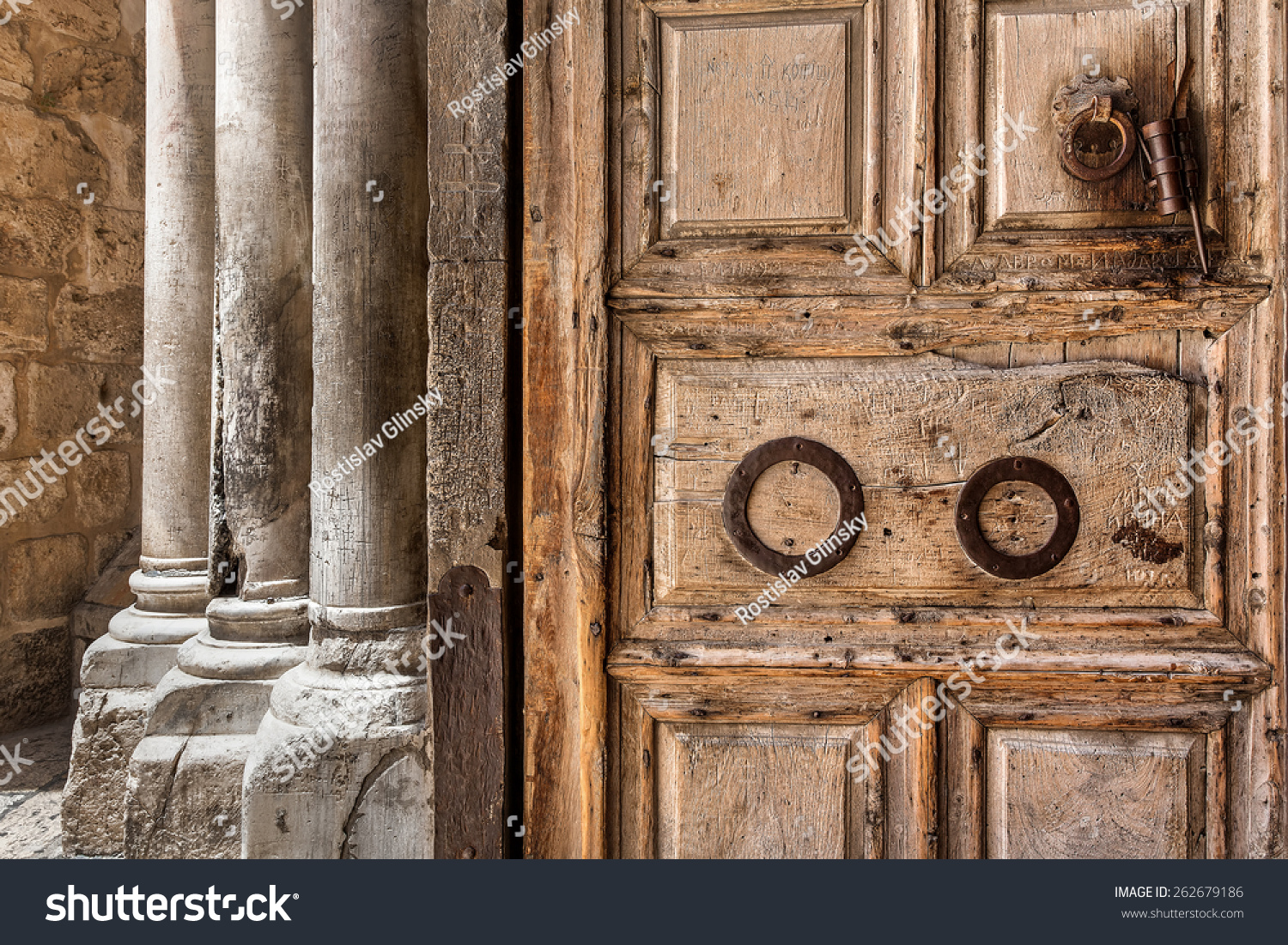 Ancient Wooden Door Marble Pillars Entrance Stock Photo