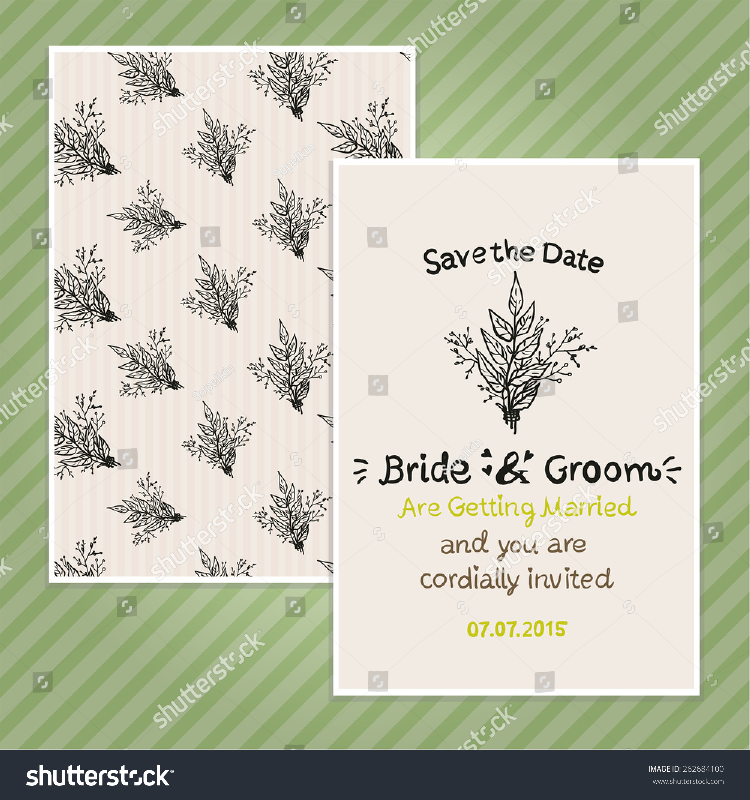 Double Sided Vintage Invitation Card Wedding Stock Vector ...
