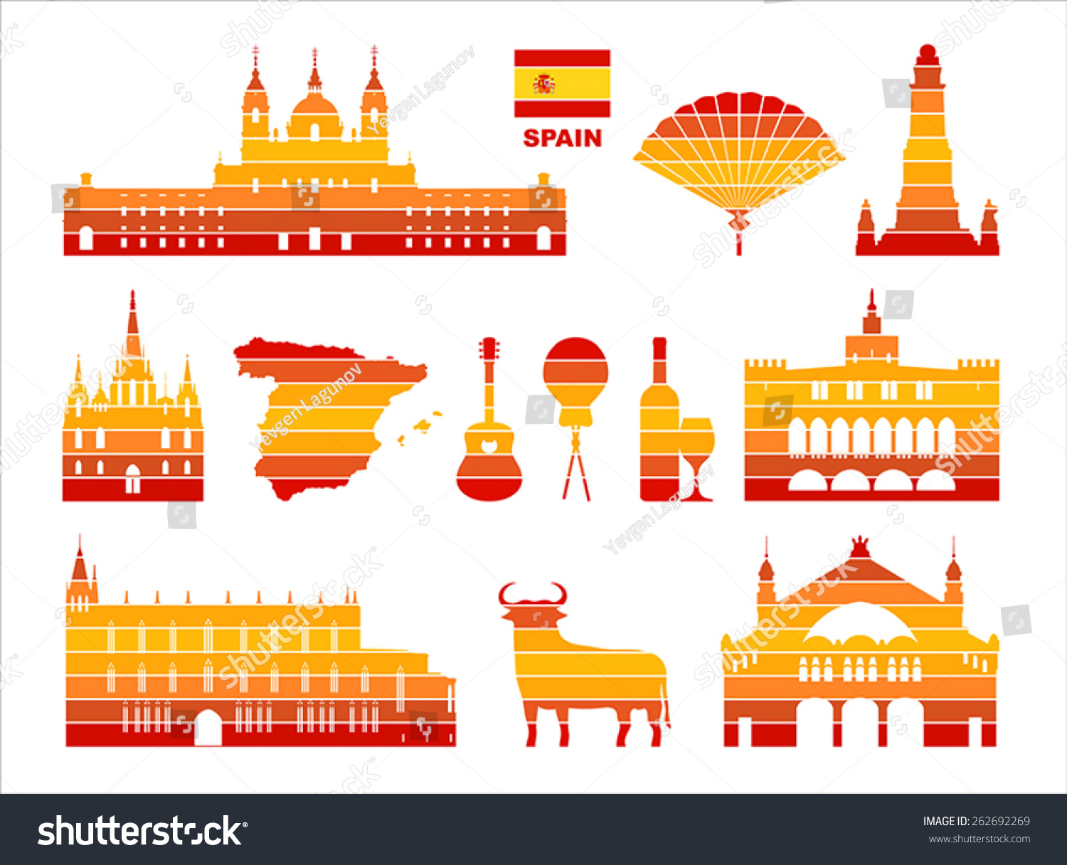 Vector graphic symbols spain stock vector 262692269 shutterstock vector graphic symbols of spain buycottarizona Images