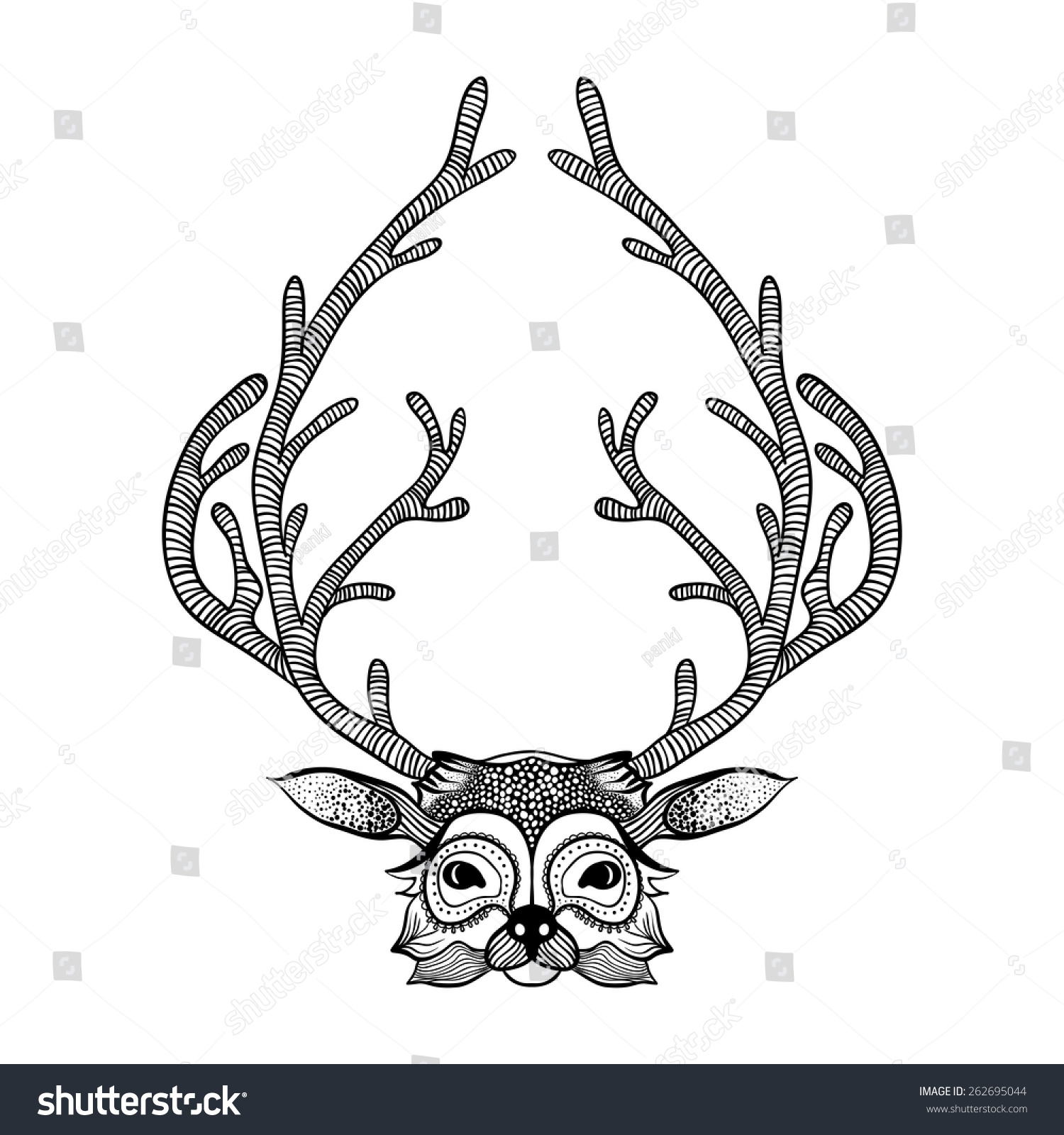 Deer Face Coloring Pages. Zentangle stylized deer face  Hand Drawn tribal totem for adult anti stress coloring pages Royalty free 262695044 Stock