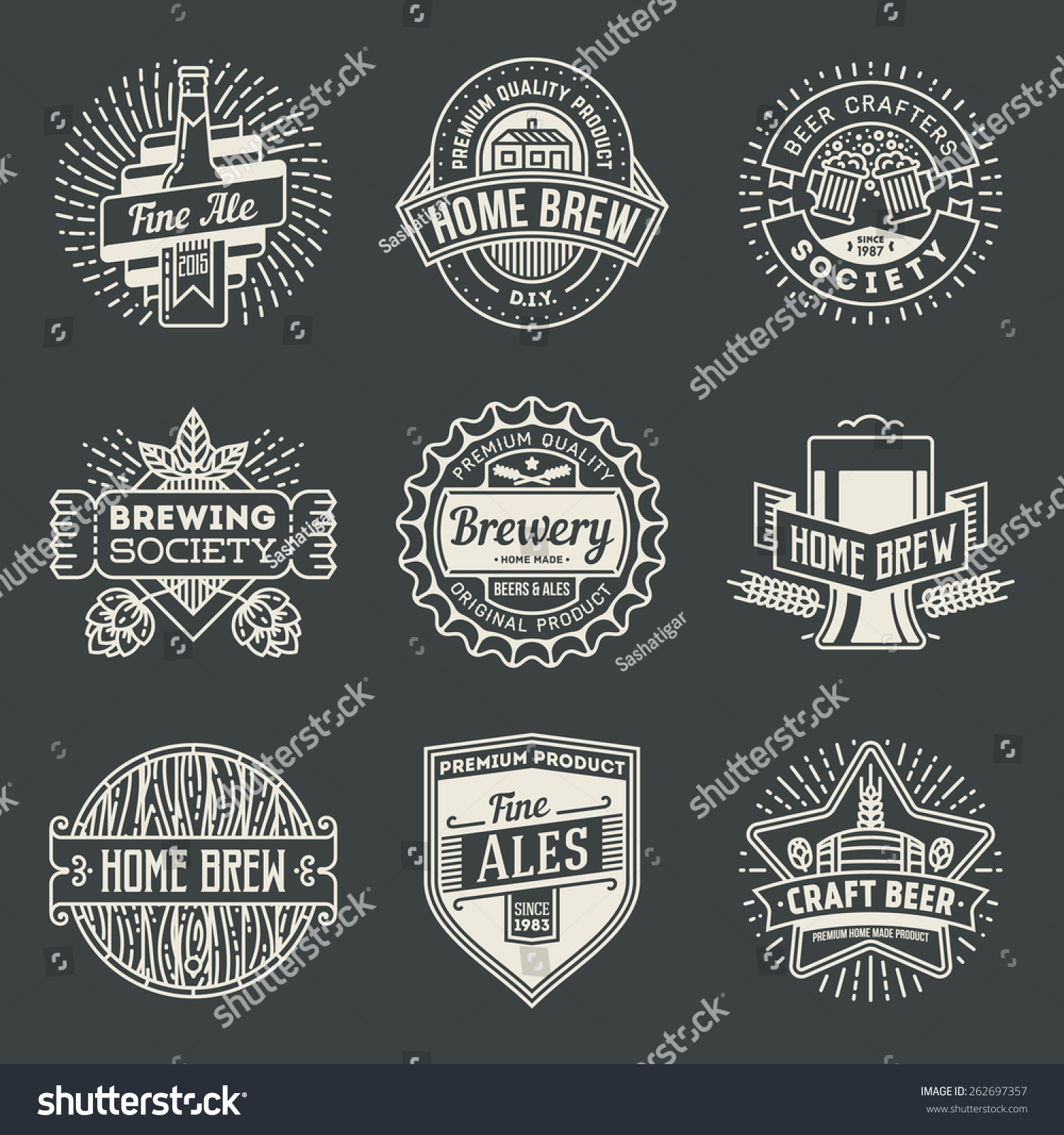 retro design insignias line art logotypes home brewery set 2 vector high quality vintage elements - Home Brewery Design