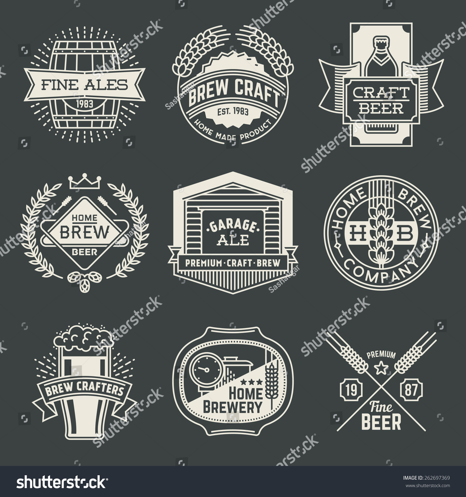 retro design insignias line art logotypes home brewery set 1 vector high quality vintage elements - Home Brewery Design