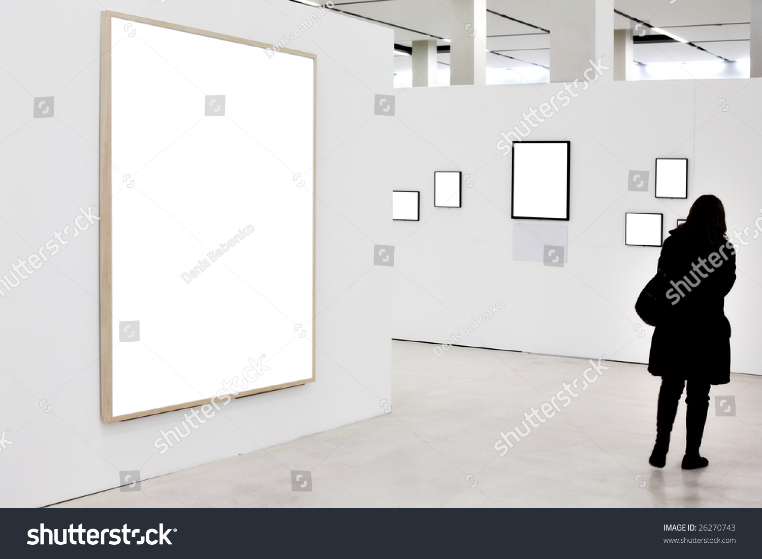 Walls museum empty frames person move stock photo 26270743 walls in museum with empty frames and person move sciox Images