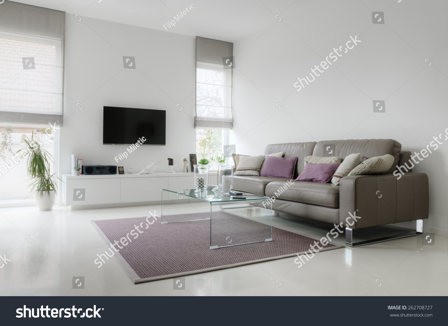 White Living Room Taupe Leather Sofa Stock Photo (Royalty Free ...