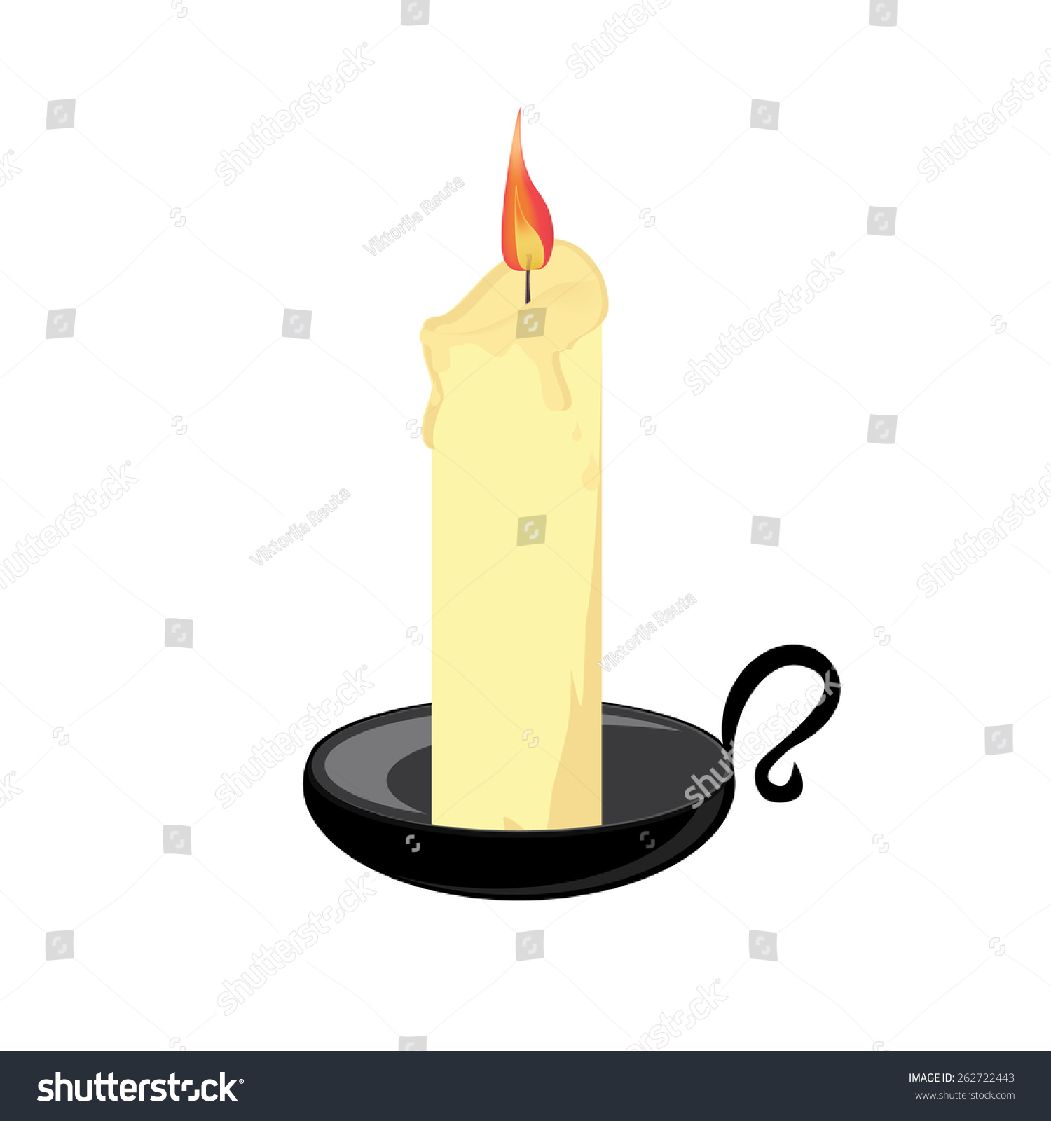 Candle With Black Holder, Candlestick Vector Isolated ...