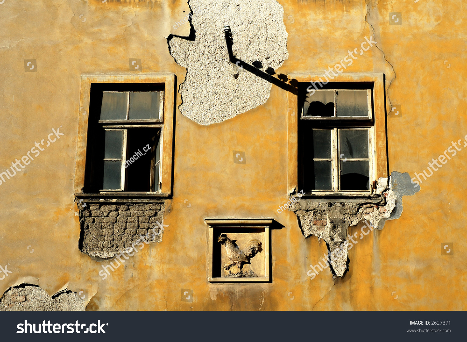 Old Building Two Broken Windows Plaster Stock Photo (Royalty Free ...