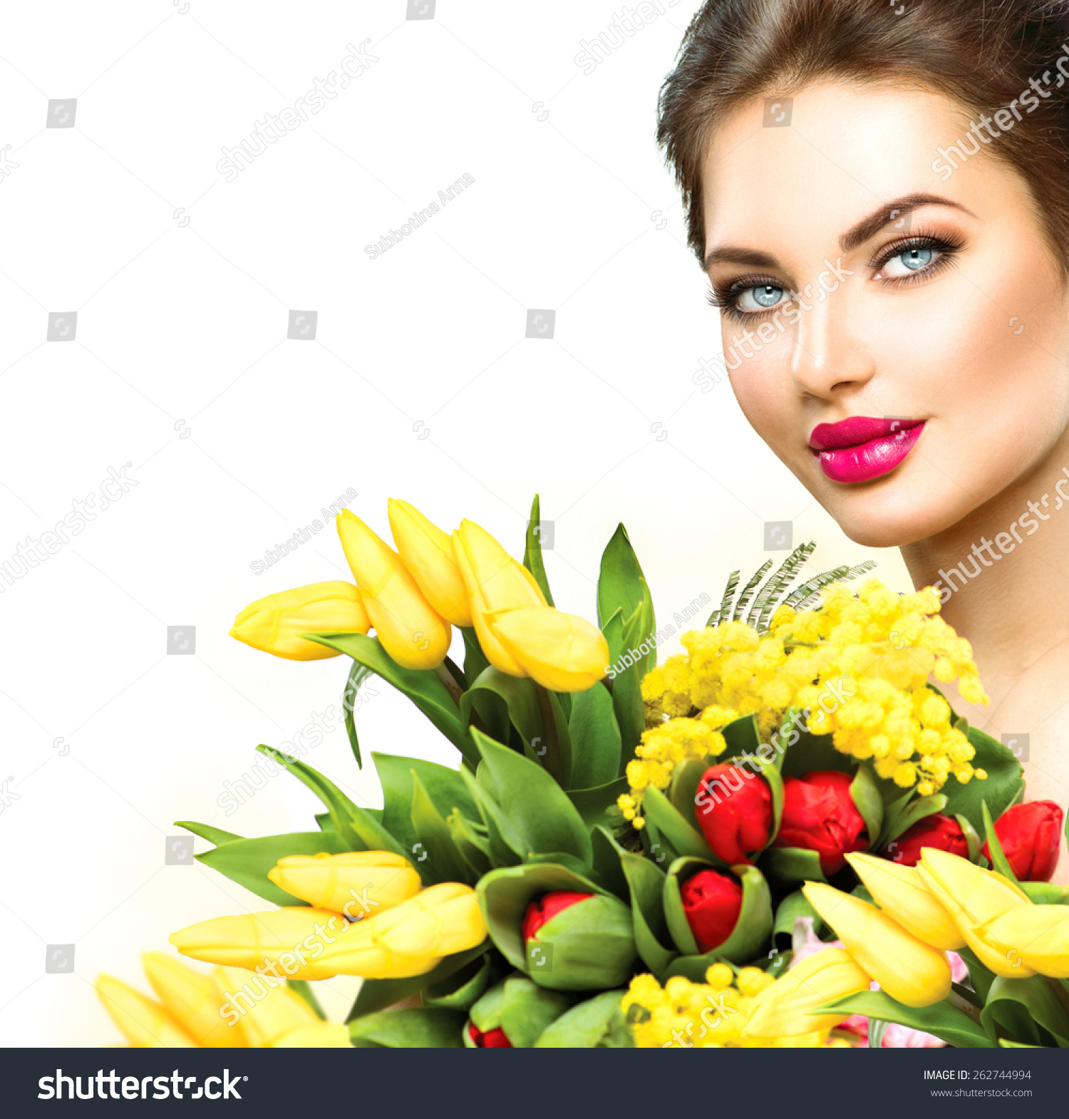 Tulip Girl Name Stock Photo Beauty Model Woman With Spring Flower