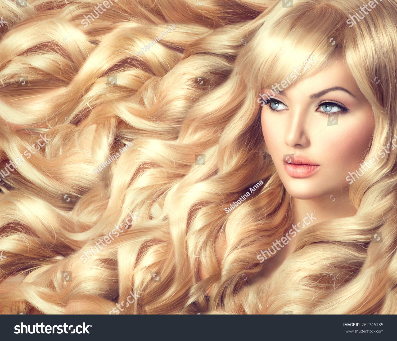 Beauty Blonde Woman Portrait Beautiful Model Stock Photo