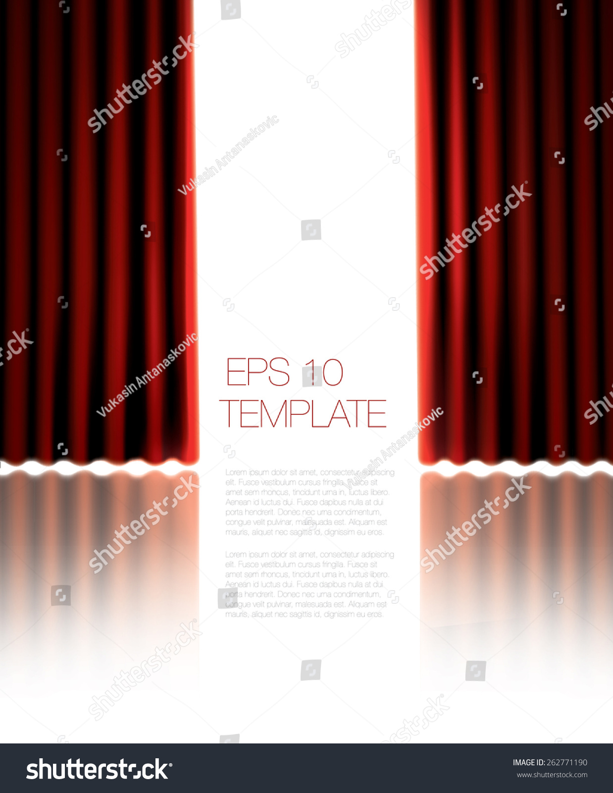 Bright Red Curtains On White Bacground Vector Template