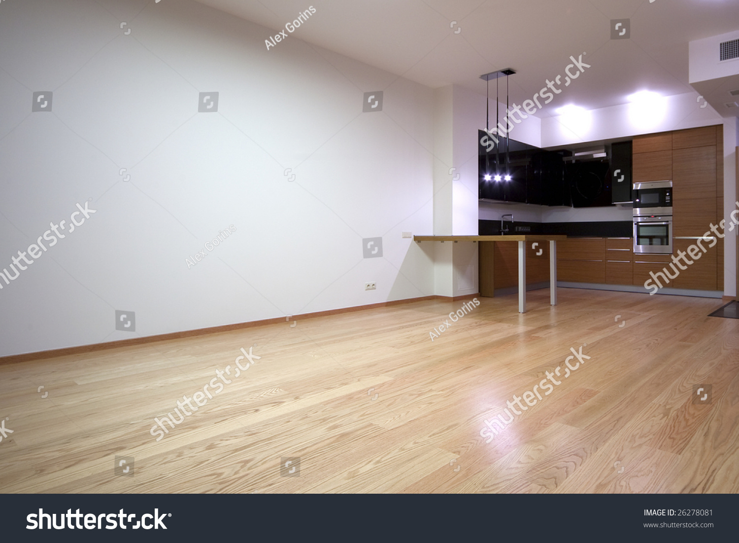 Empty Kitchen Wall Empty Living Room Builtin Kitchen Stock Photo 26278081 Shutterstock