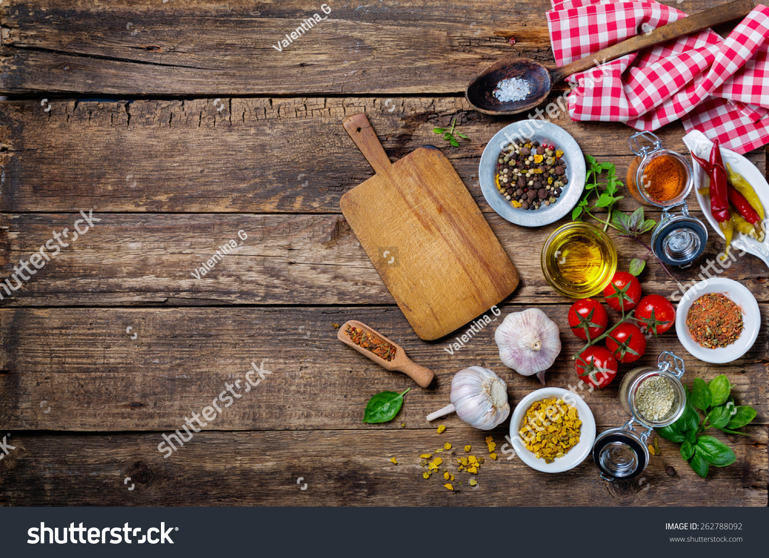 Ingredients cooking empty cutting board on stock photo