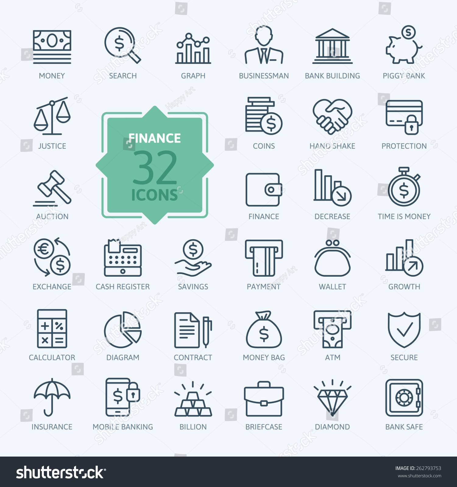 Thin line web icon set - money, finance, payments  #262793753