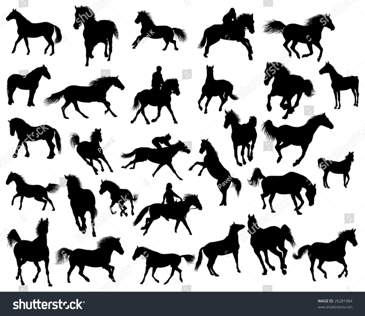 Running Horses Silhouette Wall Border Stock Vector Big Set Of Horses Silhouettes In