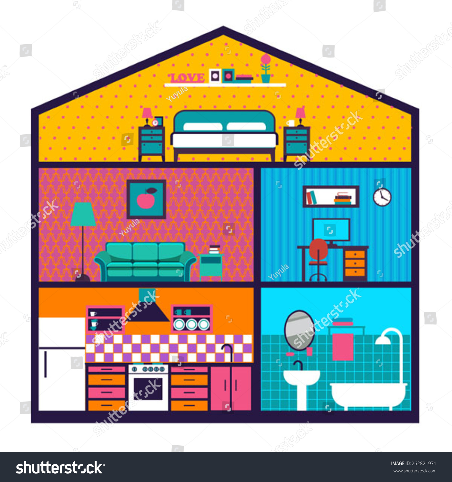 House Cut Detailed Modern House Interior Stock Vector