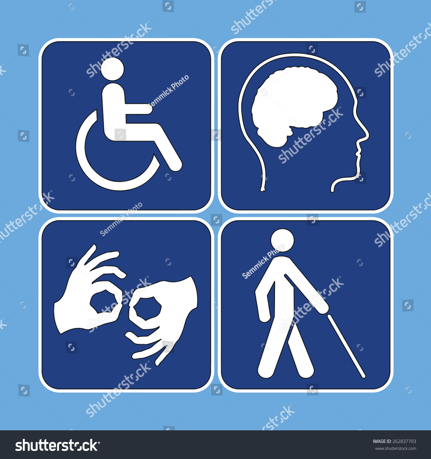 Vector set disability symbols blue white stock vector 262837703 vector set of disability symbols in blue and white biocorpaavc