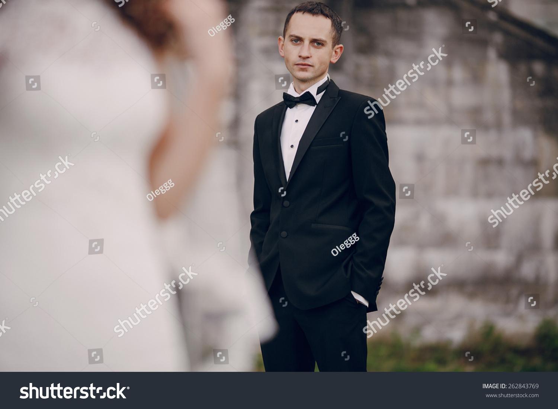 Beautiful Couple Wedding Dress Outdoors Near Stock Photo (100% Legal ...