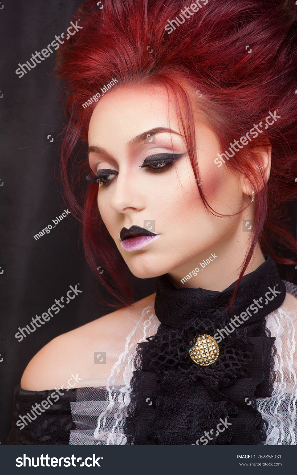 Sexy Vampire With Gothic Makeup And Red Hair Close Up Portrait