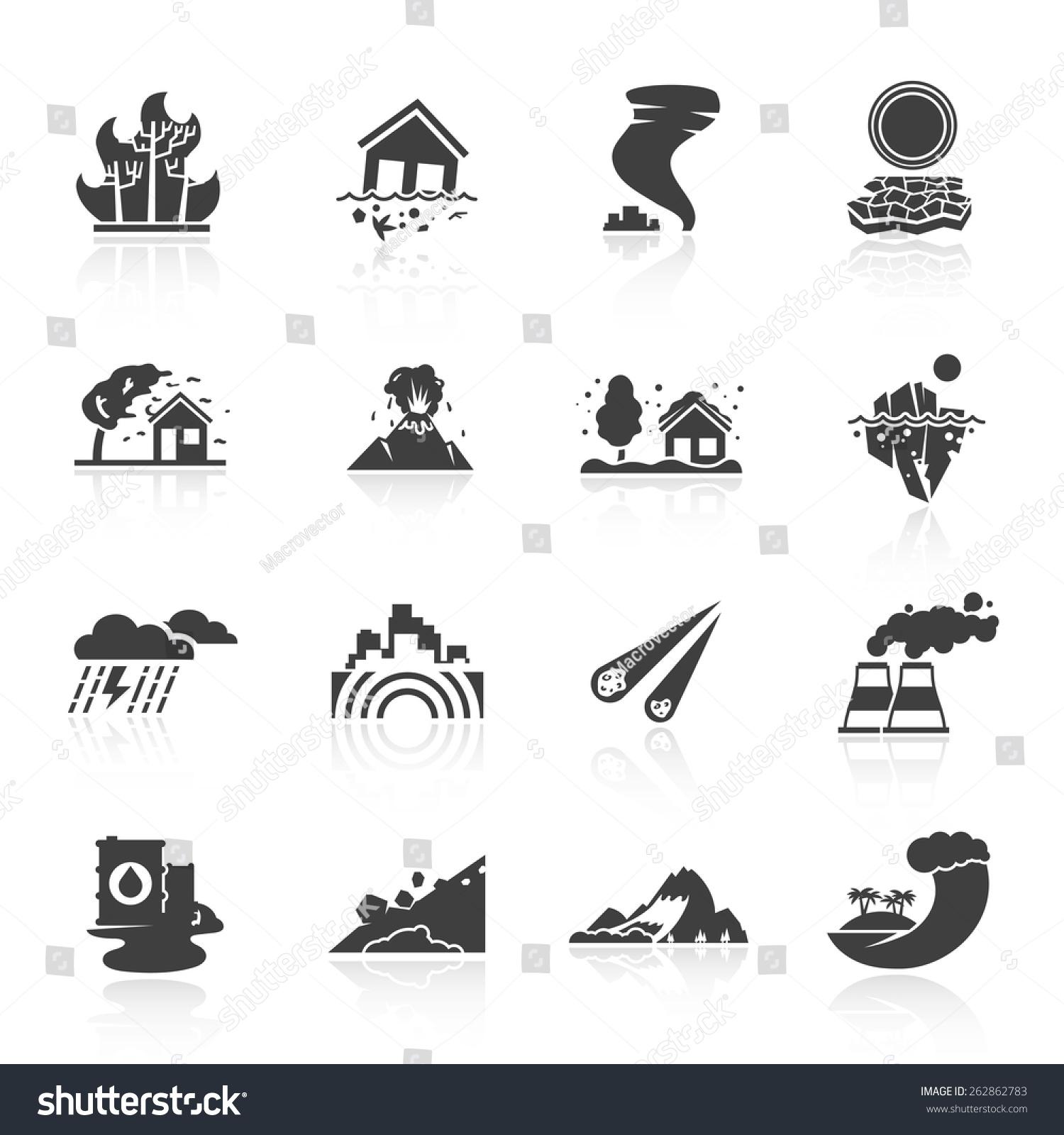 Natural Disaster Icons Black Set Tsunami Stock Vector