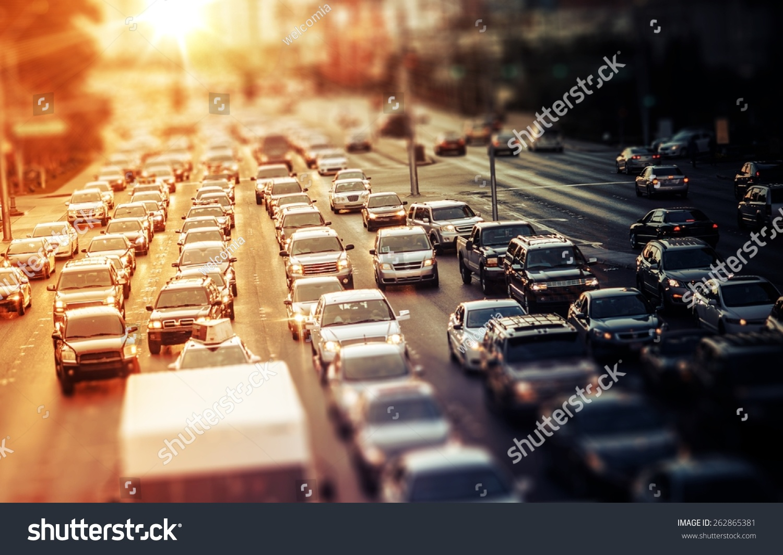 Highway Traffic at Sunset. Tilt Shift Concept Photo. Traffic in Las Vegas Nevada, USA. #262865381
