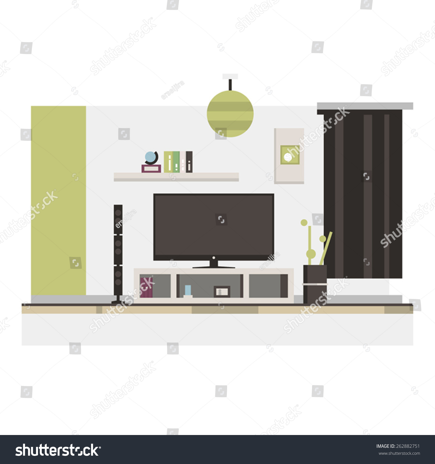 Modern Living Room Stock Vector 262882751 Shutterstock