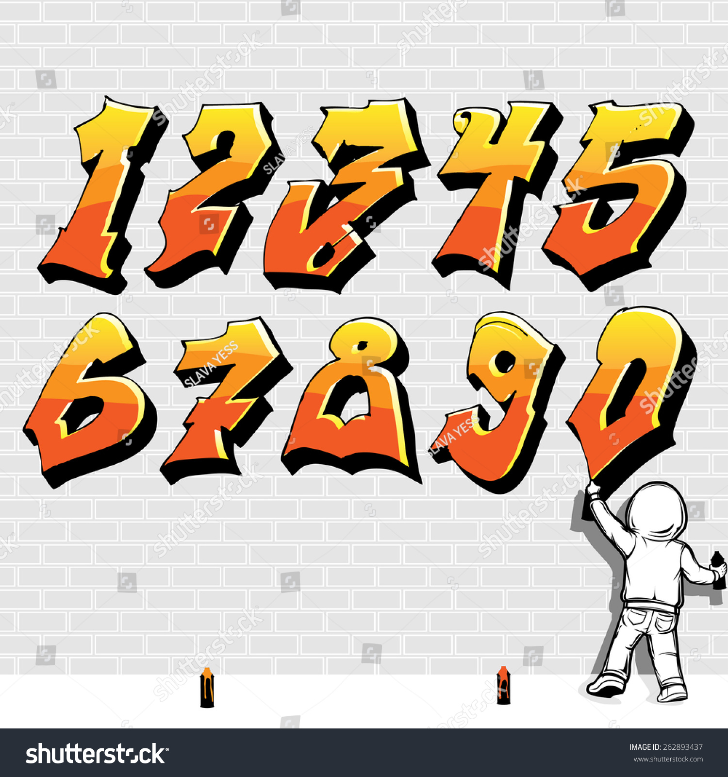 Graffiti style font fire like kid painting on brick wall part 2 2 vector