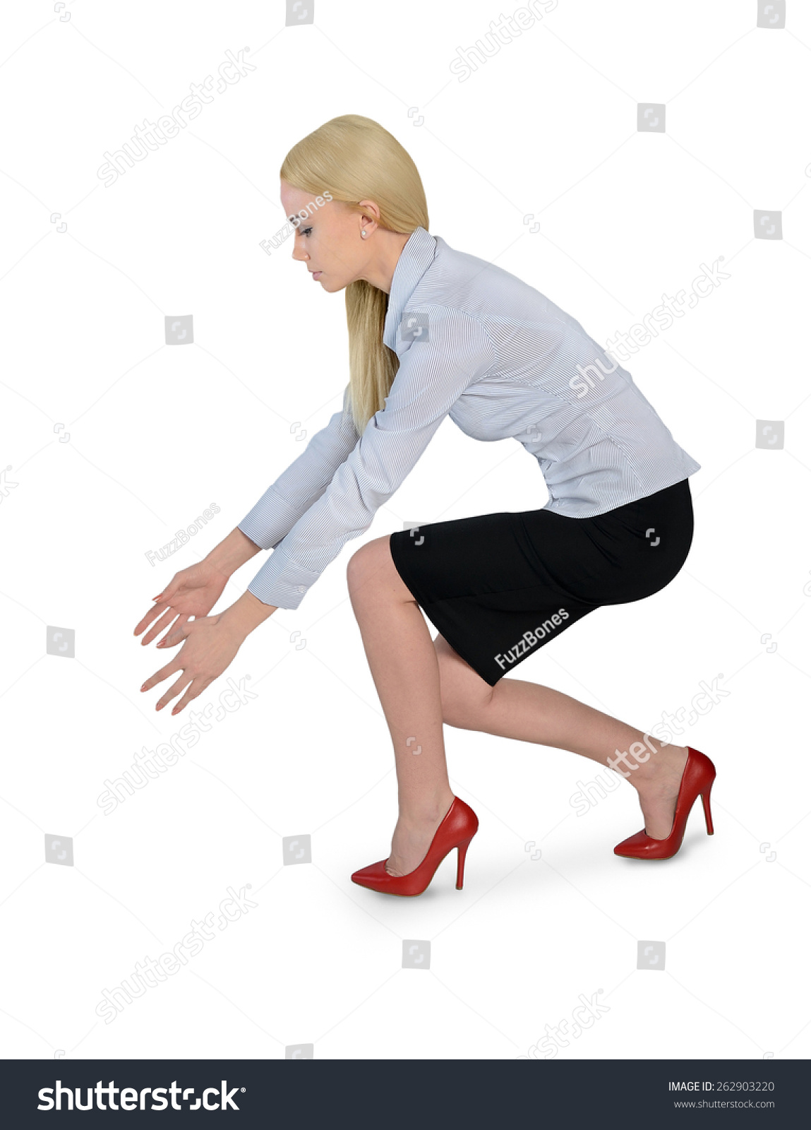 Isolated Business Woman Grab Something Stock Photo (Edit Now