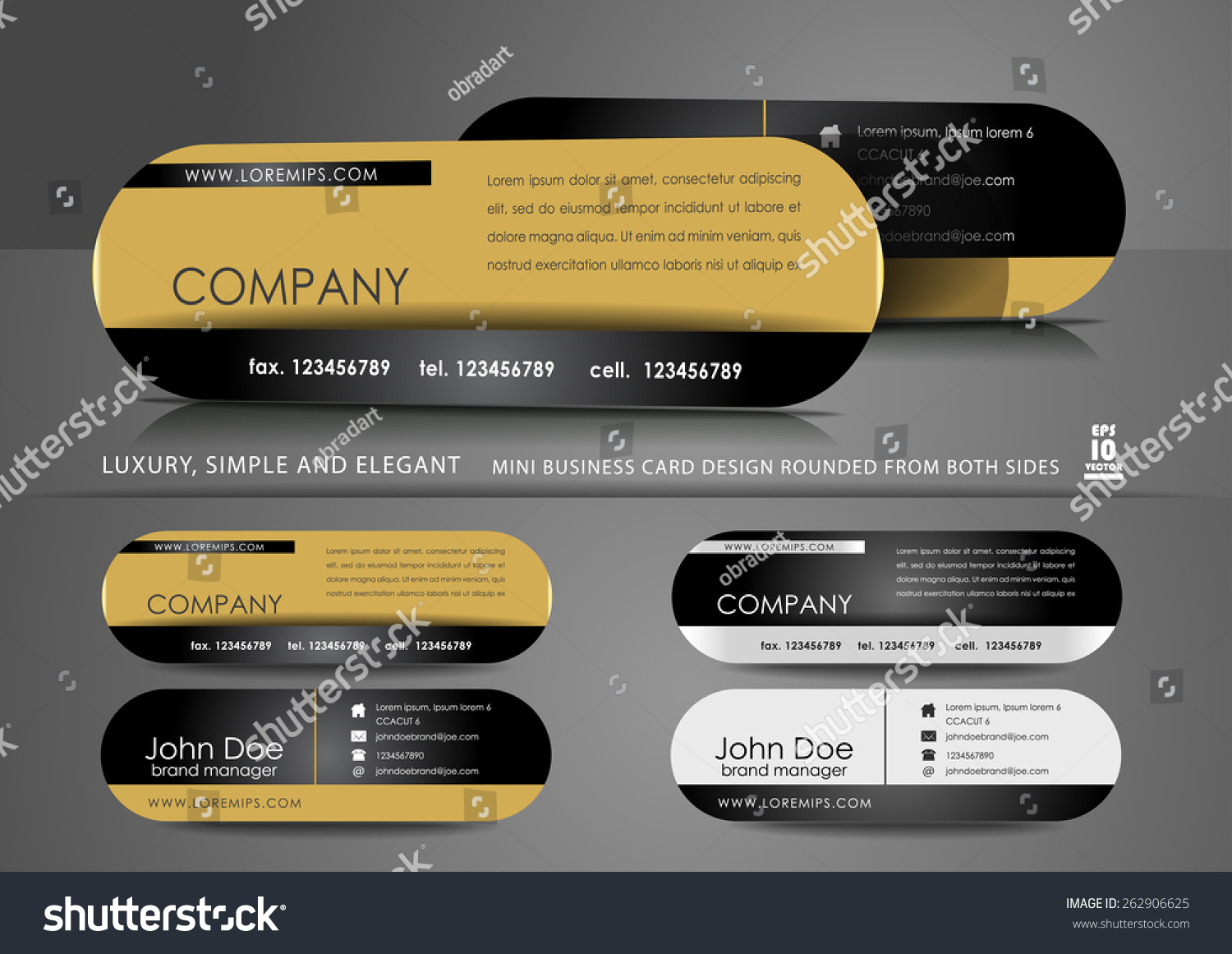 Mini Business Card Design Black Gold Stock Vector HD (Royalty Free ...