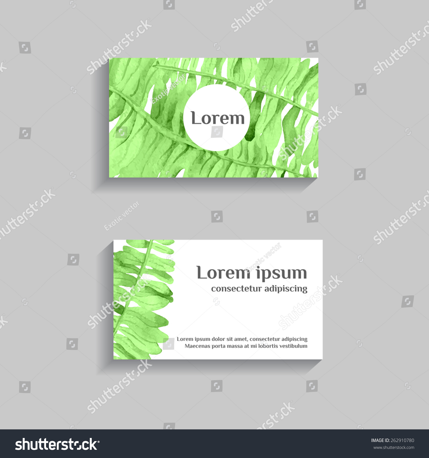 watercolor tropical business card with fern background