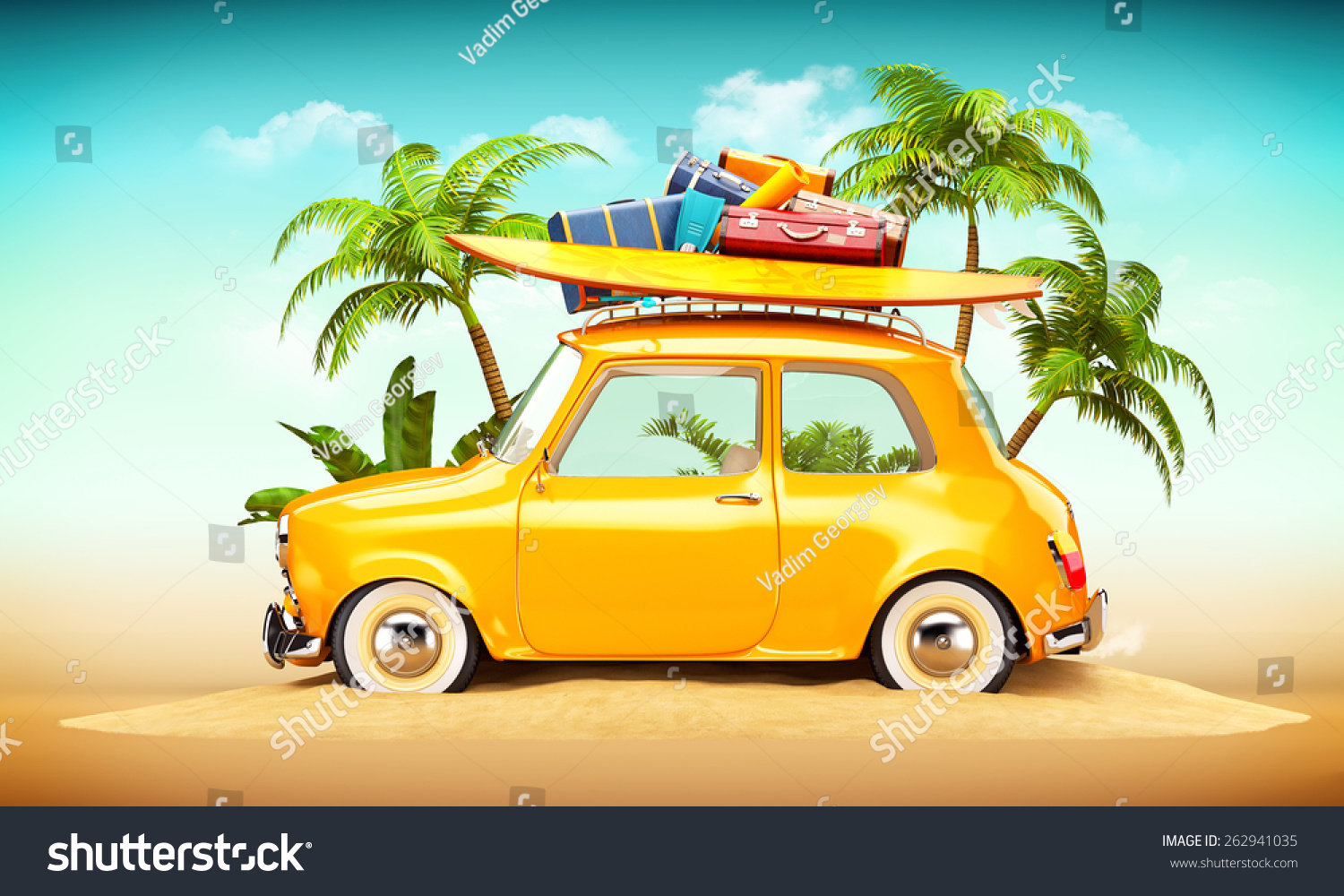 funny retro car surfboard suitcases on stock illustration 262941035 shutterstock. Black Bedroom Furniture Sets. Home Design Ideas