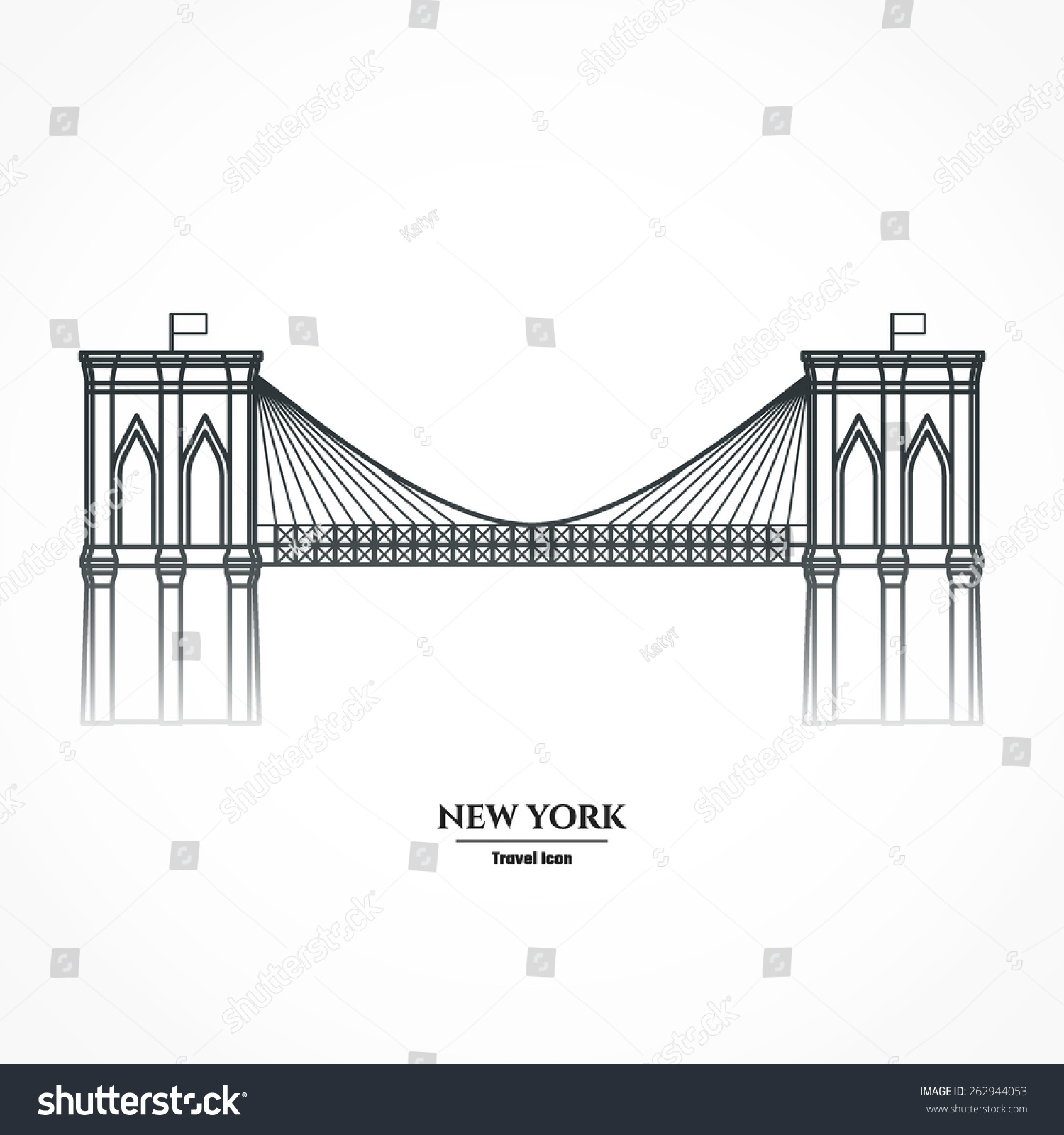 Vector Illustration Of Outline Brooklyn Bridge Icon For ...
