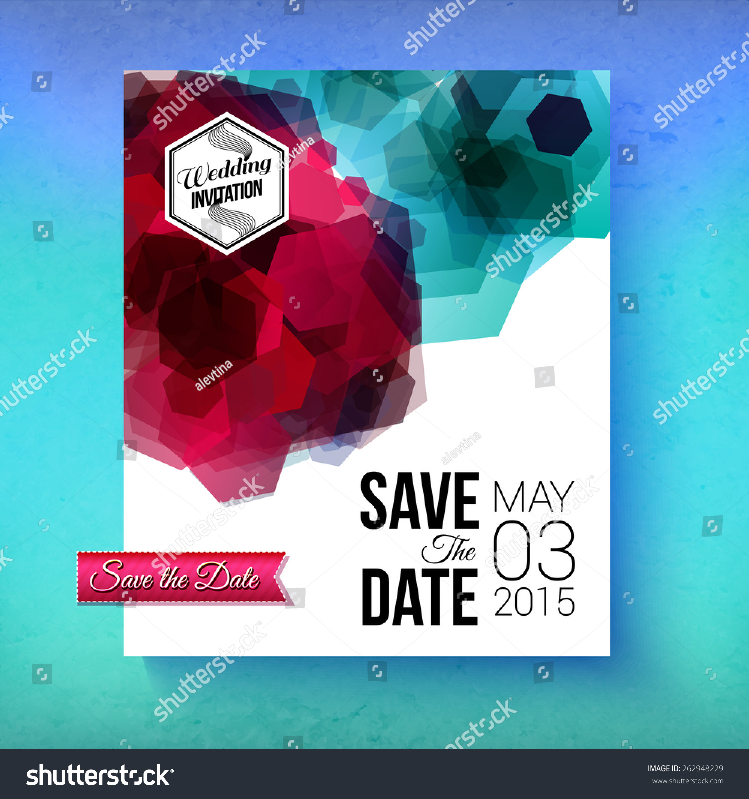 Artistic Romantic Save Date Wedding Invitation Stock Vector (Royalty ...