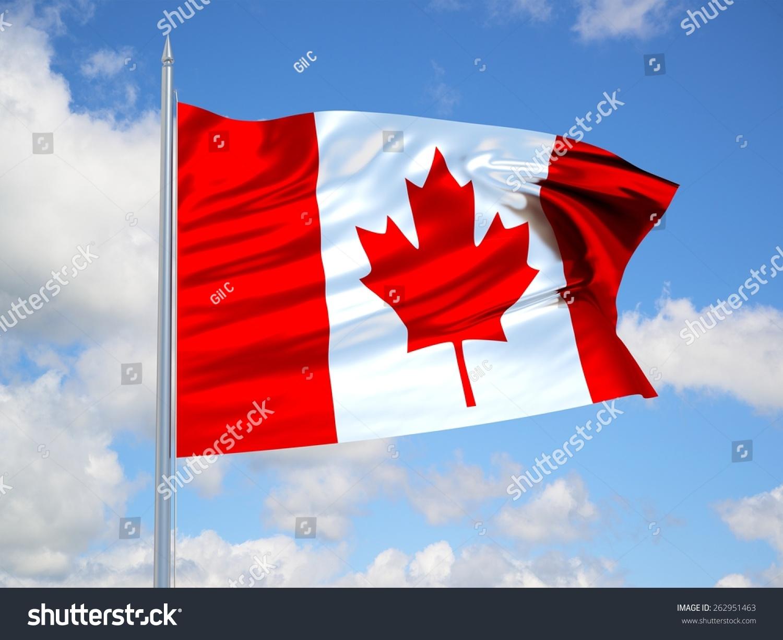 canada 3d flag floating wind blue stock illustration 262951463