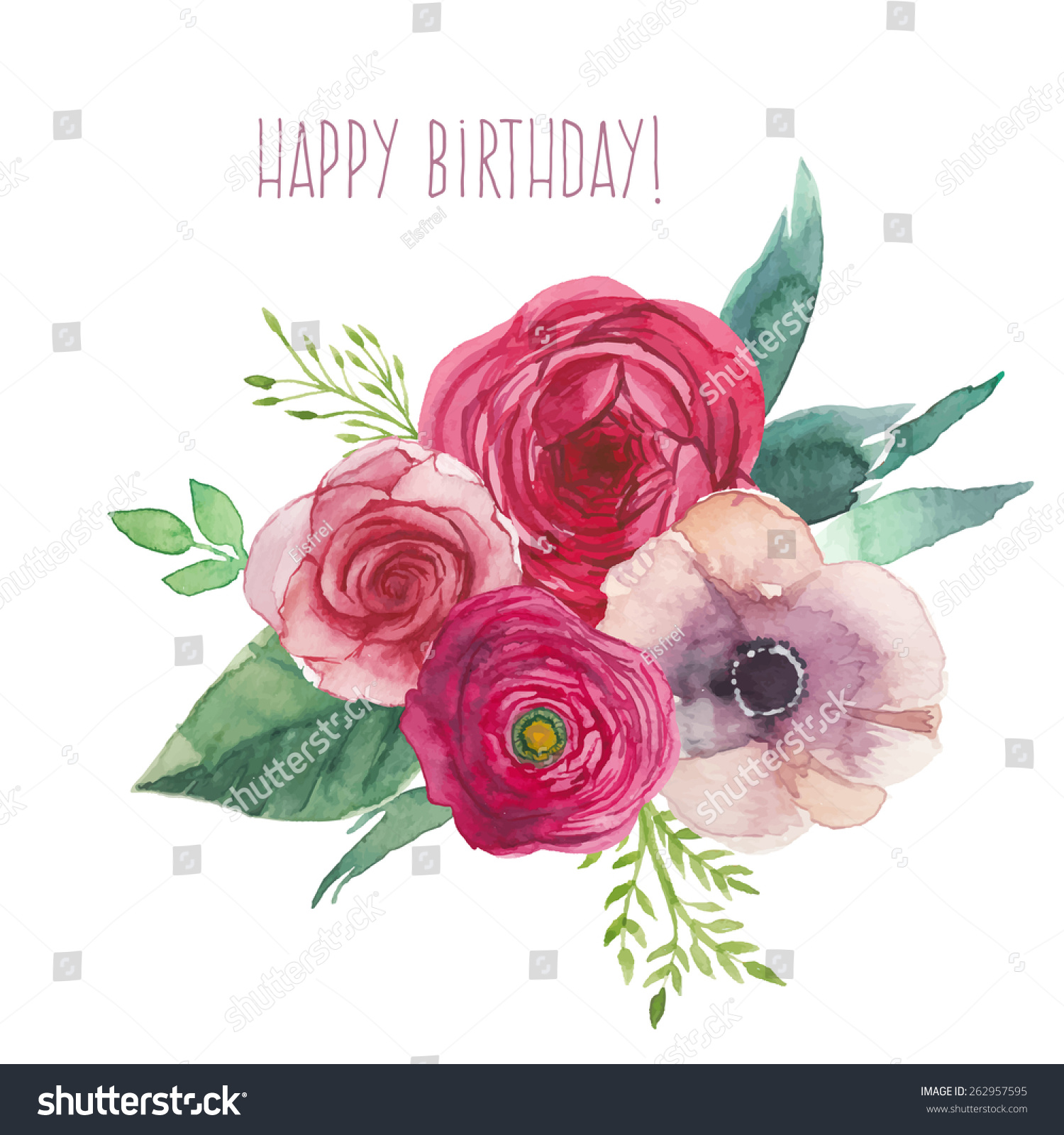 Watercolor Happy Birthday Card Flowers Bouquet Stock Vector Royalty