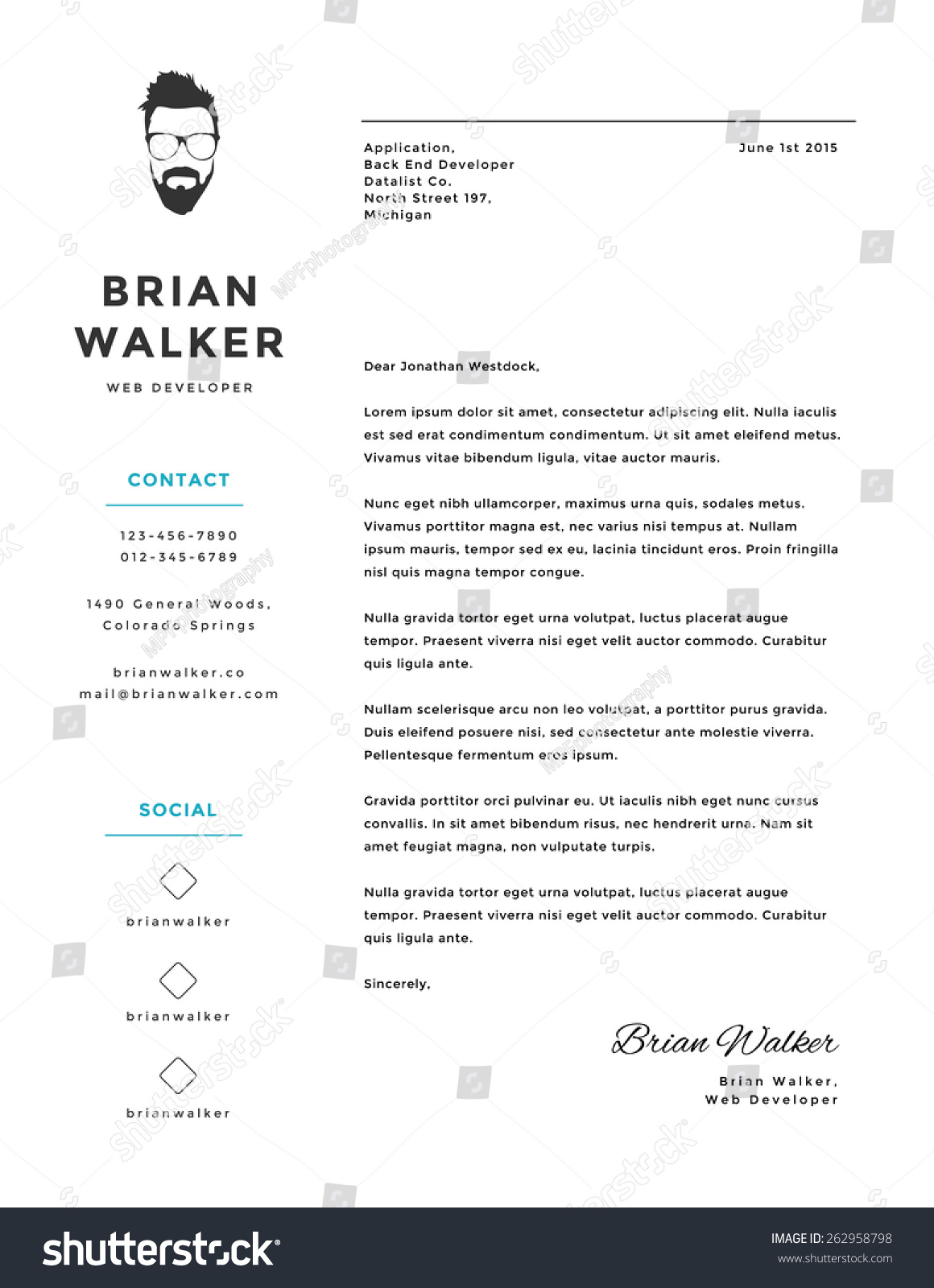 Creative minimalistic personal vector cover letter stock vector creative and minimalistic personal vector cover letter template madrichimfo Gallery