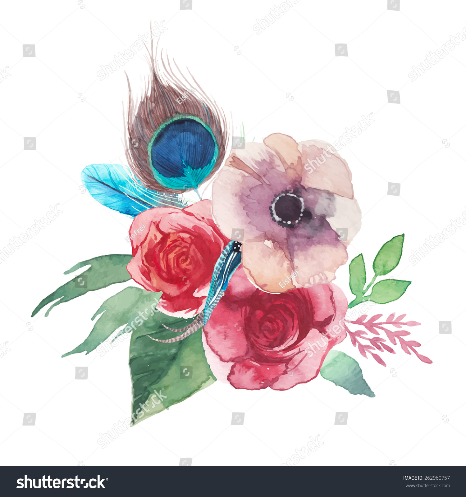 Watercolor Shabby Chic Flowers Bouquet Hand Stock Vector 262960757 ...
